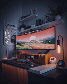 Home Studio Setup, Home Office Setup, Home Office Design, House Design, Gaming Room Setup, Desk Setup, Gaming Desk, Gaming Router, Pc Setup
