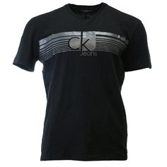 Calvin Klein Lined Ck Jeans V Neck T-Shirt Fashion Tee - Mens
