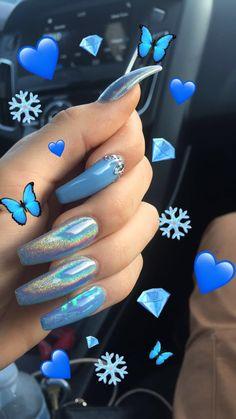 #acrylicnails #winternails #coffinnails #holonails #bluenails