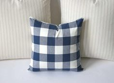 One Buffalo check (plaid) decorative throw pillow cover, handmade to order. Cadet Blue is Lighter than navy. Pictured size is 18x18. Perfect choice for layering. 100% woven cotton, medium weight home decor fabric. Invisible YKK zipper closure. Same fabric is used on the front and back. ~>In our shop, Choose the size cover that exactly matches your pillow dimensions. For example, if your pillow measures 18x18 inches choose the 18x18 inch option. Pillow covers are made approximately 1 inch…