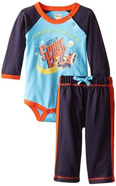 Hatley Baby Boys Newborn Raglan Bodysuit and Pant Set Stars In Space, Blue, 6-12 Months Hatley