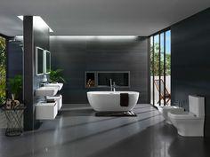 Small bathtub: inspiring models and photos - Home Fashion Trend Dream Bathrooms, Amazing Bathrooms, Modern Bathrooms, White Bathrooms, Steam Showers Bathroom, Small Bathroom, Toilette Design, Contemporary Baths, Bungalow House Design