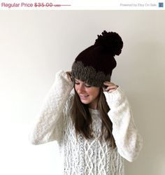 Bobble Hat Chevron Knit Pom- Solomons Hat