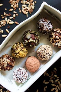 PANTRY-ENERGY BALLS -- Energy balls. Oats, buckwheat, brazils nuts, almonds, cashews, nut butter and coconut. Visit the website for the full recipe. | healthy recipe ideas