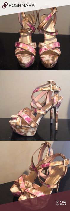 Jessica Simpson heels Worn twice. Strappy heels. Good condition. 5.5 heels Jessica Simpson Shoes Heels
