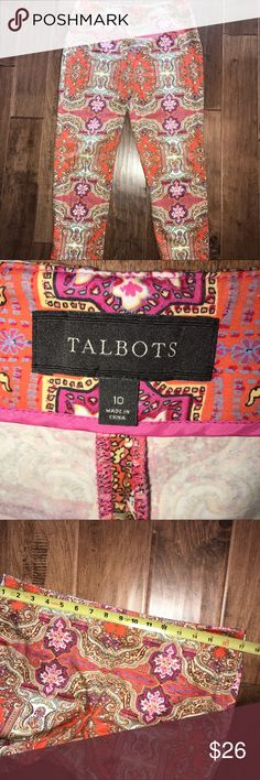 Talbots Ankle Pants Talbots pink and orange printed pants. Ankle length, flat front panel, zips on side, super lightweight for spring and summer! So cute, dress up or dress down. Talbots Pants Straight Leg