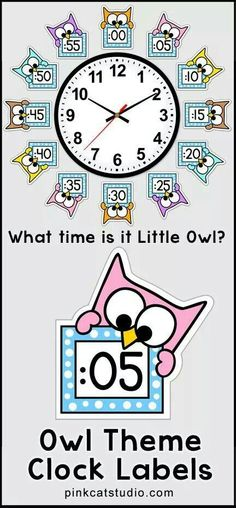 These fun owl theme clock labels will look fantastic around your classroom clock! The polka dot frames and silly owl characters are sure to inspire your students to practice telling time. Worksheets are also included. By Pink Cat Studio. Classroom Clock, Owl Theme Classroom, Classroom Displays, Kindergarten Classroom, School Classroom, Teaching Math, Classroom Organization, Classroom Management, Classroom Ideas