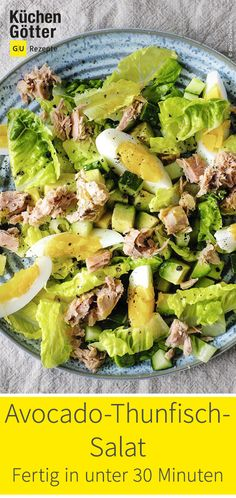 Avocado-Thunfisch-Salat The perfect evening salad: avocado-tuna salad with a light vinaigrette. Salad Recipes Healthy Vegetarian, Side Salad Recipes, Salad Recipes For Dinner, Dinner Salads, Chicken Salad Recipes, Healthy Salads, Avocado Tuna Salad, Avocado Salat, Spinach Salad