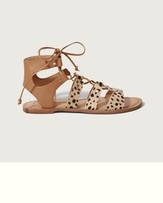 Introducing one of Our Favorite Brands, Dolce Vita. With an effortlessly cool approach to fashion, Dolce Vita masters a mix of casual and flirty styles. JASMYN is a must-have gladiator sandal with lace-up design, nailhead details and leopard print on pony hair.
