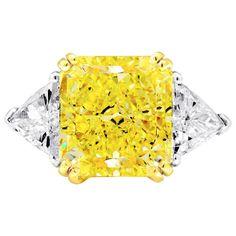 Three Stone Engagement Ring 7.49 Fancy Yellow Center Diamond