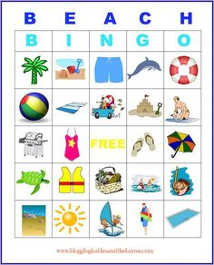 Printables -Beach Bingo & other fun kid activity