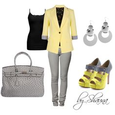 I do love yellow and gray together, created by shauna-rogers on Polyvore