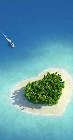 Heart Shape Island - Tavarua Island, Fiji, Oceania