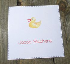 Rubber Duckie Personalized Enclosure Cards - Gift Cards - Calling Cards - Set of 24 - Unisex - Trending - Flat - One sided - Embossed - Kids