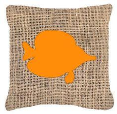 Tang Fish Burlap Indoor/Outdoor Throw Pillow
