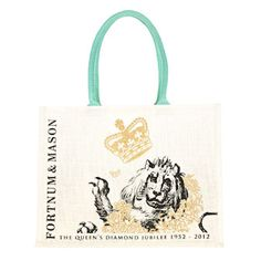 Fortnum's 'Bag for Life' - the Fortnum's bag marches on apace as it appears in its third incarnation. Endlessly useful for shopping and other errands, this year's version features two of the Queen's Beasts as featured in our new Jubilee designs. Finished with gold detail and eau de nil handles, it is an elegant alternative to the plastic bag.