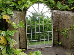 Large Decorative Gothic Arched Door Metal Framed Garden Wall Mirror Arch for sale online Arched Window Mirror, Arch Mirror, Arched Doors, Arched Windows, Mirror Tiles, Freestanding Mirrors, Rustic Wall Mirrors, Back Gardens, Kew Gardens