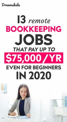 13 remote bookkeeping jobs that pay up to 75000 per year. Online Bookkeeping, Bookkeeping And Accounting, Accounting Jobs, Bookkeeping Business, Small Business Accounting, Bookkeeping Services, Business Help, Business Ideas, Earn Money From Home