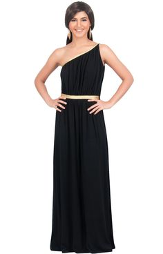 b232d8efb59190 KOH KOH Plus Size Womens Long One Shoulder Sexy Bridesmaid Summer Evening  Gown Maxi Dress Color Black Size Large 2224 *** For more information, ...