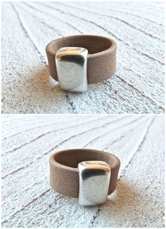 Leather ring 39 Ladies Ring Ring for womenBoho by Charmecharmant