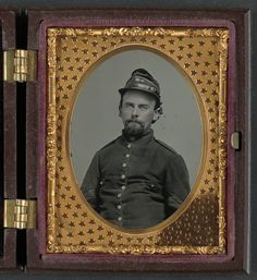 (c. 1861-1865) Soldier in Confederate uniform and Richmond Howitzers artillery unit hat