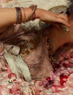 The art of beautiful detail. Sir Lawrence Alma-Tadema,The Roses of Heliogabalus detail. Lawrence Alma Tadema, Renaissance Paintings, Renaissance Art, Classic Paintings, Beautiful Paintings, John William Waterhouse, Detailed Paintings, Pre Raphaelite, Classical Art