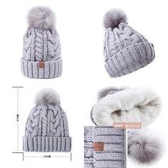 12860ba3972 REDESS Women Winter Pom Pom Beanie Hat with Warm Fleece Lined