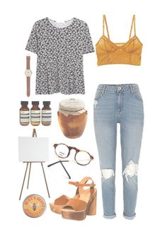 """You Are My Honey Bunches Of Oats"" by sierrabrett44 ❤ liked on Polyvore featuring Office, Intimately Free People, MANGO, J.Crew, Aesop and Burt's Bees"