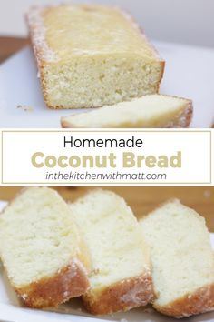 This homemade coconut bread covered in a thin coconut glaze is absolutely amazing. If you are a fan of coconut and quick bread, you will love this recipe. It is very easy to make, if I can do it, you can do it. Let's get baking! Best Bread Recipe, Quick Bread Recipes, Baking Recipes, Brunch Recipes, Breakfast Recipes, Dessert Recipes, Desserts, Savory Herb, Low Carb Bread