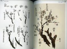 日本画集/墨彩画集/俳画/参考本[一学就会梅花画法]