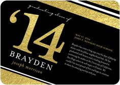 Shine at your #graduation with this 'Golden Triumph' Graduation Announcement in Black and Gold.