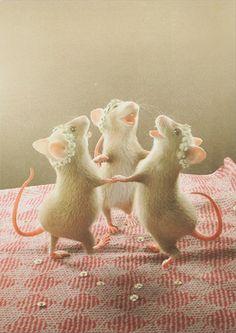 """Postkarte """"Tanzende Mäuse""""   Zur kleinen Mauscool mice postcard #mäuse #postkarte #mice #postcard"""