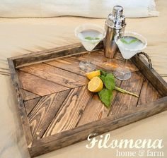 Rustic Wooden Serving Tray Rustic Tray by Filomenahomeandfarm