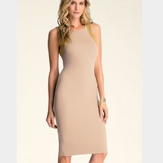 Midi Tan bebe Dress Brand new never worn with tags! Beautiful and rare midi dress. Tan and has beautiful chain detail. Sexy yet subtle. Too long on me. bebe Dresses Midi