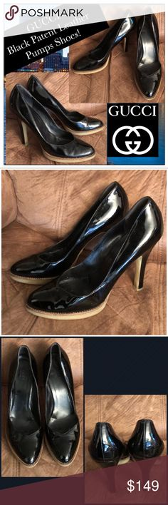 "Fabulous Gucci Black Patent Leather Pumps Shoes! Fab Gucci Black Patent Leather Pumps Shoes! Features: 100% authentic, pointed toe, black patent leather, slip-on design & rubber soles. ""Gucci Made in Italy"" on inside. 3 1/2"" across widest part on bottom, 10"" insole length. Size 9 1/2B. Ret:$675. Some damage on heel. Very good condition. Offers welcomed! Gucci Shoes"