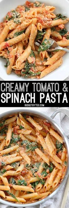 Easier than a box meal, this creamy tomato & spinach pasta is also more flavorful and delicious. 100% real ingredients. BudgetBytes.com Veggie Recipes, Vegetarian Recipes, Cooking Recipes, Healthy Recipes, Cake Recipes, Dinner Recipes, Budget Recipes, Spinach Recipes, Couscous Recipes