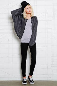 Vintage Renewal Plain Silk Bomber Jacket at Urban Outfitters