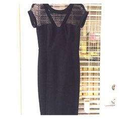White House Black Market Dress Beautiful and classic little black dress with shear top. Only worn once. Perfect condition. White House Black Market Dresses
