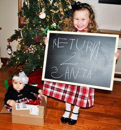 Sending her sister back to Santa!! Cute Christmas photo idea!