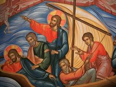 Jesus and the disciples on the boat