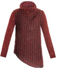 ShopStyle: Helmut Lang Tattered tape chunky knit sweater