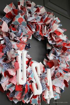 Stars and Stripes Rag Wreath. #4thofjuly #wreath