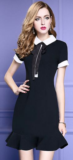 Chic Turn Down Collar Hit Color Lace Up Work Dress