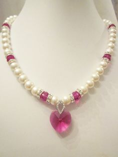 Swarovski Pearl and Crystal Necklace - White Swarovski Pearls and Fuchsia Crystal Heart - Weddings, Brides, Bridesmaids