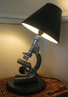 VINTAGE RETRO MICROSCOPE LAMP UNIQUE QUIRKY UPCYCLED RECYCLED BESPOKE ONE OFF