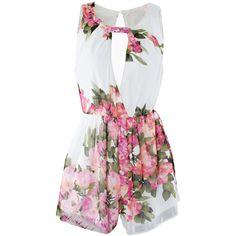 Choies White Floral Print Sleeveless Romper