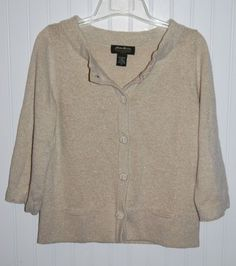 Eddie Bauer Sweater Cardigan Womens Medium M Tan Cream Mettalic Gold #EddieBauer…