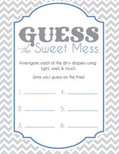 Baby Shower Game Cards for Guess the Sweet Mess - Chocolate Candy Bar Diaper Game. Instant download and print! 4 cards per sheet. Blue and Grey. Chevron! #babyshower #showergames #itsaboy