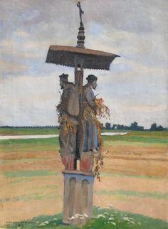 Stanisław CZAJKOWSKI ,Świątek nad Wisłą, 1919 , olej, płótno, 68,5 x 49,2 cm