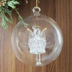 Personalised Glass Angel Christmas Bauble can be engraved with any message - Fast UK Delivery.